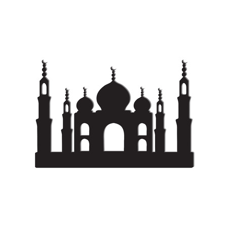 agra: Temple Taj Mahal icons black and white silhouette isolated-vector illustration. White background. EPS 10 Illustration