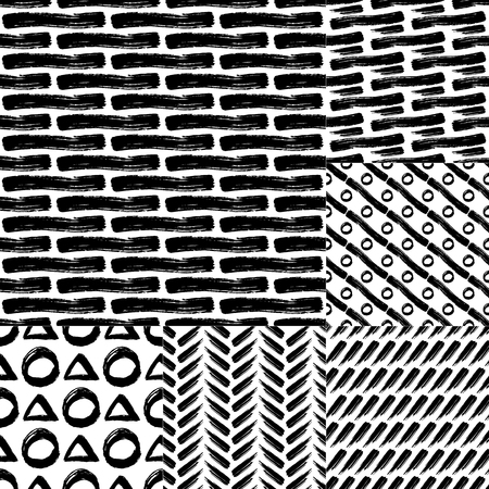 careless: Set of vector seamless  pattern with careless strokes lines, circles. Abstract background made using of brush smears. Black and white hand drawn texture.