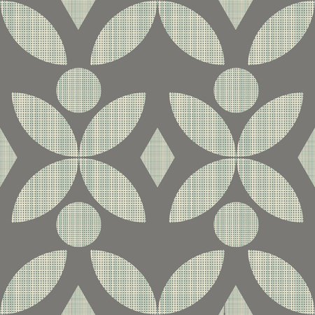 interweaving: Geometric ornament seamless interweaving of fibres-vector illustration. Fabric structure, horizontal and vertical lines. Flower rhombus geometric dots. Illustration