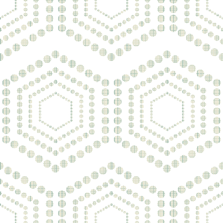 interweaving: Geometric ornament seamless interweaving of fibres-vector illustration. Fabric structure, horizontal and vertical lines. Hexagon dots. Illustration