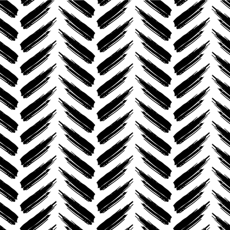 careless: vector seamless pattern with careless strokes lines. Abstract background made using of brush smears. Black and white hand drawn texture. Illustration