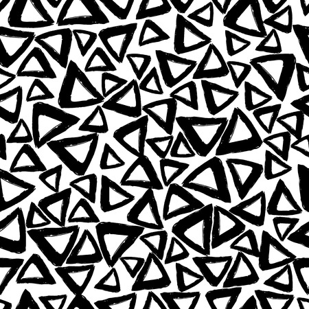 careless: Vector seamless pattern with careless strokes in the form   triangles. Abstract background made using of brush smears. Black and white hand drawn texture. Illustration