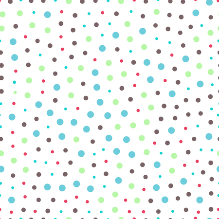 distributed: seamless pattern of circles dots -vector illustration. Orbs and circles are randomly distributed, large and small.
