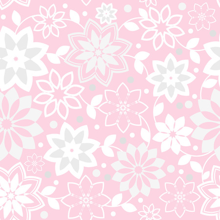 light pink: geometric seamless floral pattern - vector illustration. The delicate pastel pink color. Light pink background. Illustration