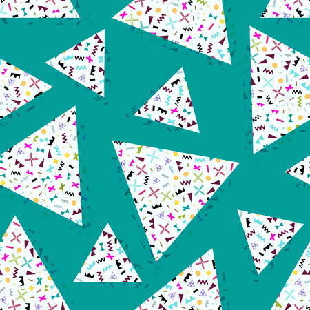 80 s: seamless background with geometric triangles, the design of the 80 s - vector illustration. Retro group Memphis. Background of geometric shapes