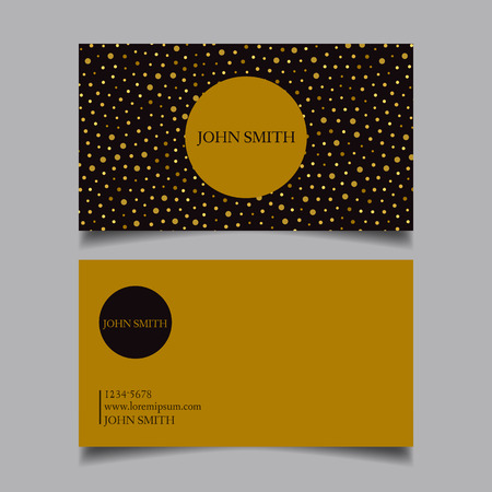 business event: Template business card, editable, neat, Golden dots  with black combination, the design of the project card-vector illustration