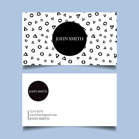 neat: Template business card, editable, neat, black and white background, circles, triangles rings primitive style card-vector illustration