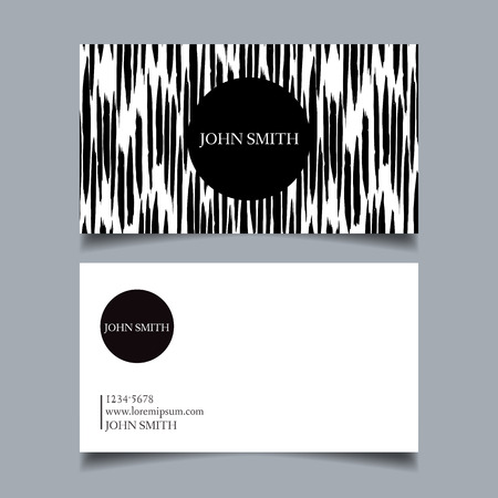 discontinuous: Template business card, editable, neat, black-and-white background, vertical, discontinuous, rough brush strokes, card-vector illustration