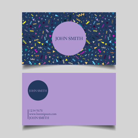 business event: Template business card, editable, neat, blue purple background, the design of the project Memphis 80 years card-vector illustration Illustration