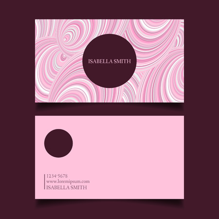 gently: Business card template editable, gently pink color palette, design vector.