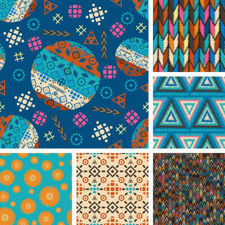 heathen: set of seamless patterns with tribal boho-vector illustration. Boho style design ethnic ornaments. Triangles, circles, fashionable patterns and prints, texture.