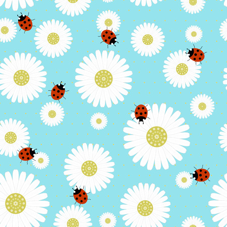 chamomiles: Seamless pattern with chamomiles on a blue background with ladybugs -vector illustration