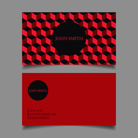 neat: Business card template, editable, neat, red cubes the design of the draft map-vector illustration Illustration