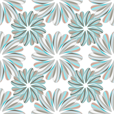 brightly: seamless pattern with hand drawn flowers-vector illustration. Brightly colored ornament