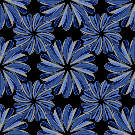 repeating background: seamless pattern with hand drawn flowers-vector illustration. Brightly colored ornament