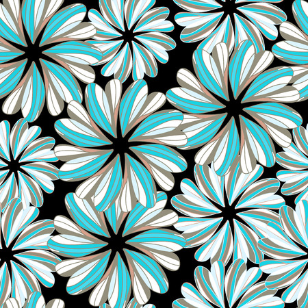 seamless pattern with hand drawn flowers-vector illustration. Brightly colored ornament