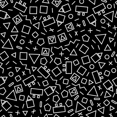 gouge: seamless geometric background with triangles, the design of the 80s -vector illustration. Retro group Memphis. Background of geometric shapes. Bright color eye gouge. Memphis style      black background
