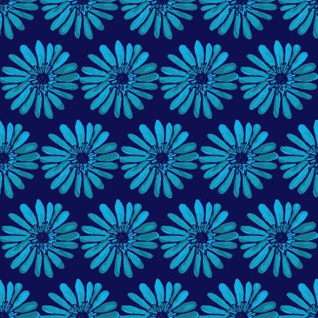 Brillante floreale senza soluzione di continuità illustrazione stampa vettoriale. motivo floreale luminoso su uno sfondo blu scuro. senza soluzione di continuità Fiore. textura floreale. Ornamento dei fiori.