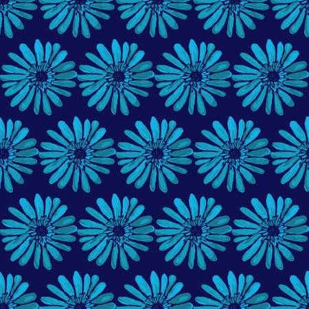 Bright floral seamless print-vector illustration. Bright floral pattern on a dark blue background. Flower seamless. Floral textura. Flowers ornament. Vettoriali