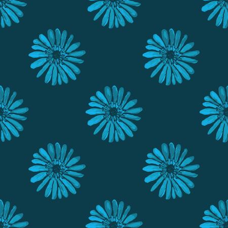 textura: Brillante floreale senza soluzione di continuità illustrazione stampa vettoriale. motivo floreale luminoso su uno sfondo blu scuro. senza soluzione di continuità Fiore. textura floreale. Ornamento dei fiori.