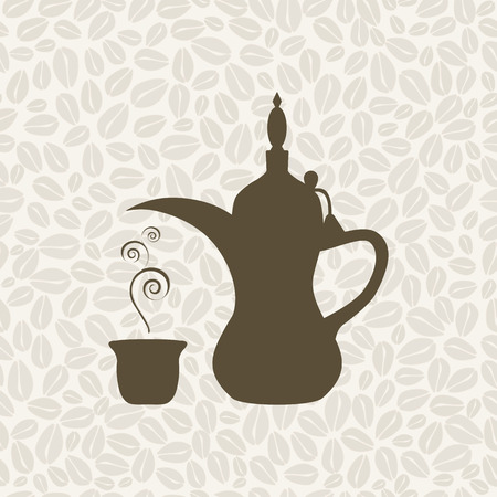 arabic coffee: The Arabic coffee pot on the coffee background - illustration. Seamless pattern with coffee.