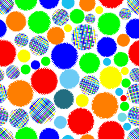 gouge: Bright rainbow seamless pattern of circles-illustration. Ornament eye gouge.