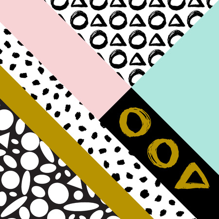 gree: Abstract hand drawn geometric pattern, or background, brush painted elements. Poster textile Wallpaper pattern. Mint gree, pink, gold color.