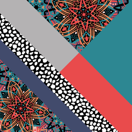 Abstract hand drawn background. Geometric floral pattern. Eastern ornament. Bright print texture. Poster, card, textile, pattern desktop Wallpaper