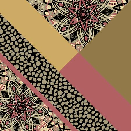 desktop wallpaper: Abstract hand drawn background. Geometric floral pattern. Eastern ornament. Bright print texture. Poster, card, textile, pattern desktop Wallpaper