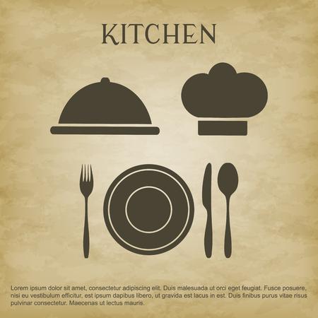 Icônes de cuisine logo Banque d'images - 80039317