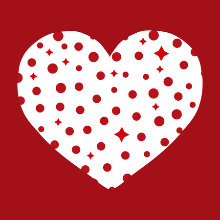 passion  ecology: Logo heart vector illustration. Heart from circles and stars on a red background. Illustration
