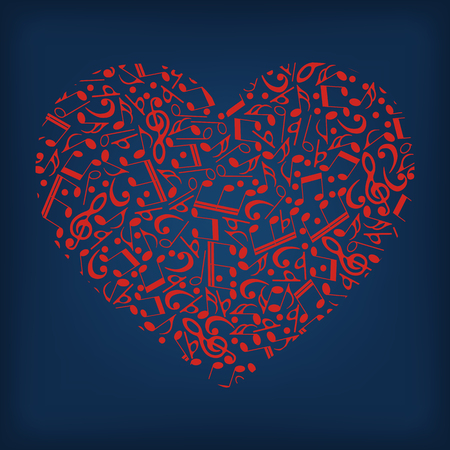 The logo is the heart of the music-vector illustration. Red heart on blue background. Illustration