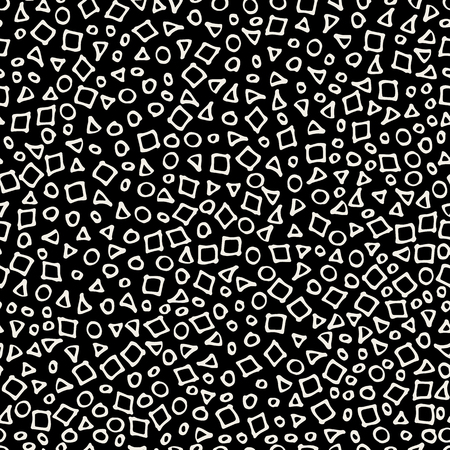 Hand drawn marker and ink seamless patterns-vector illustration. Sloppy Doodle circles dots triangles and squares in monochrome. White and black Vetores