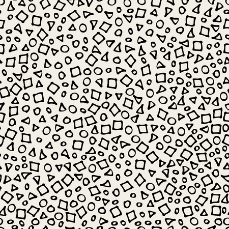 Hand drawn marker and ink seamless patterns-vector illustration. Sloppy Doodle circles dots triangles and squares in monochrome.