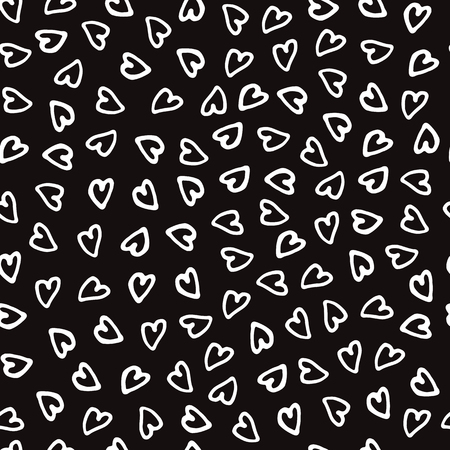 Hand drawn marker and ink seamless patterns-vector illustration. Sloppy Doodle the hearts monochrome.