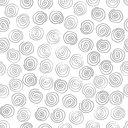 Hand drawn marker and ink seamless patterns-vector illustration. Sloppy Doodle circles spirals monochrome. White and black