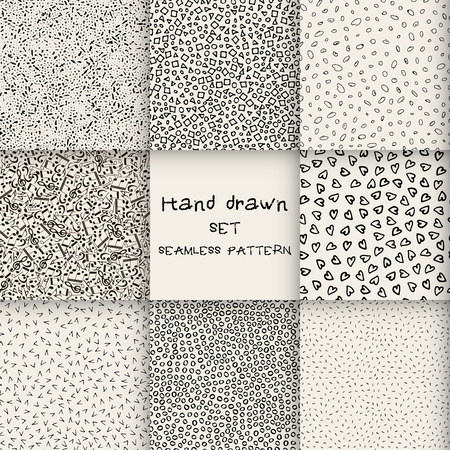Seamless set hand drawn marker