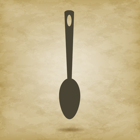 A large kitchen spoon isolated vector illustration. On an aged grunge background.