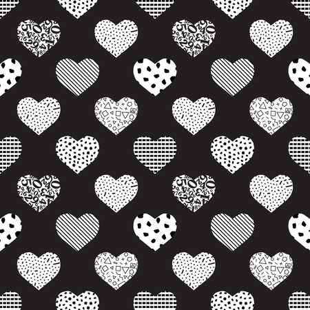 Seamless geometric heart pattern of different textures. Monochrome abstract background-vector illustration.