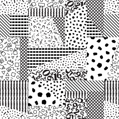 Seamless geometric of different shapes pattern textures. Monochrome abstract background-vector illustration. Ilustrace