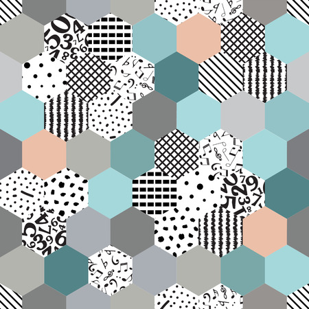 Seamless abstract pattern of mosaic with spot texture, dots point and lines numbers, notes-vector illustration. Hexagon Ilustrace