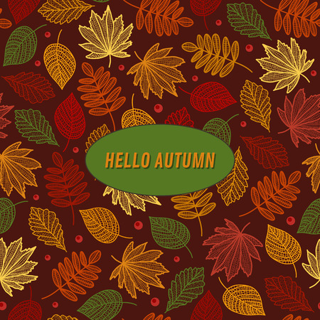 Autumn pattern with leaves of maple, poplar, oak with the inscription in the middle vector illustration.