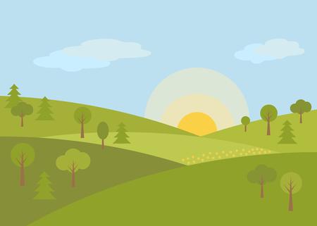 Landscape summer on the hills grow trees, sunrise, green grass-vector illustration.