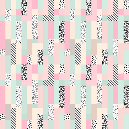 Seamless abstract rectangle background-vector illustration. Pattern from pieces of different textures. Patchwork.