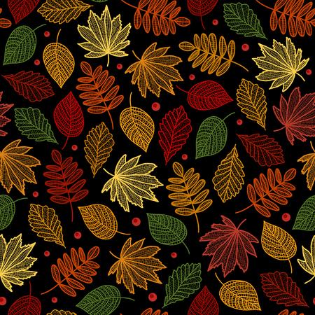 Autumn pattern seamless with leaves of maple, poplar - vector illustration.