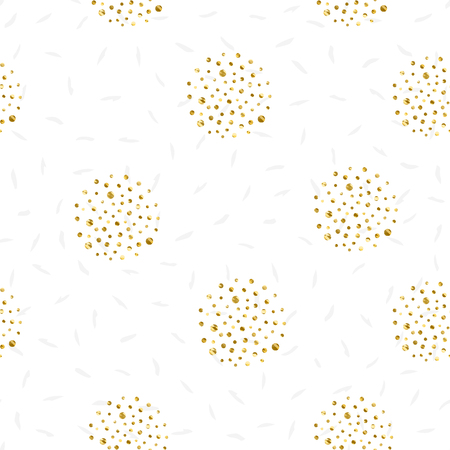 Circles of gold dots-vector illustration on white background dashes in the background seamless.
