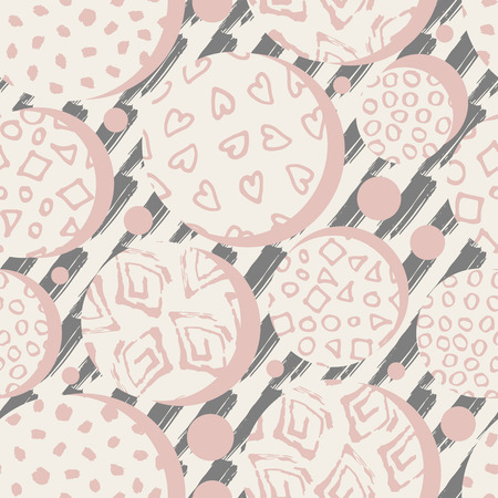Hand drawn pink marker and ink seamless patterns. Hand drawn circles, dots, squares hearts. Scribble for children. Background of stroke drawn by hand