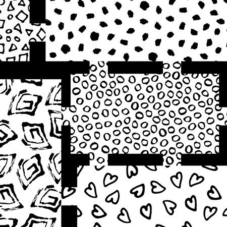 Geometric pattern of rectangles with different textures vector illustration. Banner postcard art design. Creative design combination of geometry with hand-drawn prints. Ilustrace