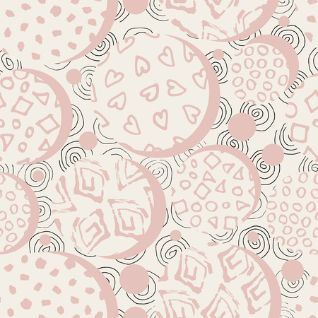 Hand drawn pink marker and ink seamless patterns. Hand drawn circles, dots, squares hearts. Scribble for children. Background of spiral drawn by hand Ilustrace