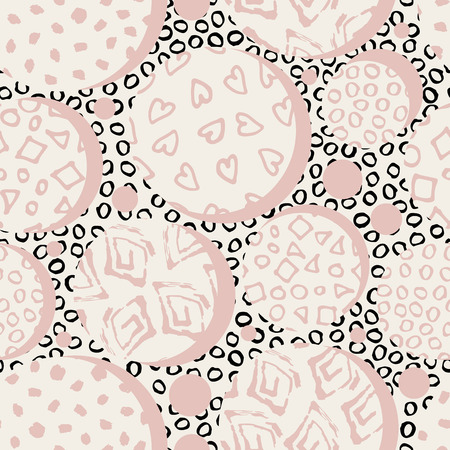 Hand drawn pink marker and ink seamless patterns. Hand drawn circles, dots, squares hearts. Scribble for children. Background of dots drawn by hand